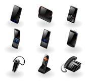Elektronikikone eingestellt - Telefone/Kommunikation Lizenzfreie Stockfotografie