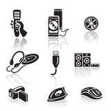 Elektronikikonensatz Schwarzes Zeichen auf weißem Hintergrund Stockfotografie