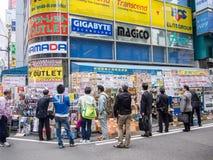 Elektroniklager på Akihabara den elektriska staden, Tokyo royaltyfri fotografi