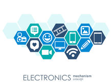 Elektronikmekanism Abstrakt bakgrund med förbindelsekugghjul och integrerade plana symboler Förbindelsesymboler för bärbar dator royaltyfri illustrationer