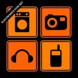 elektroniksymbolsset stock illustrationer