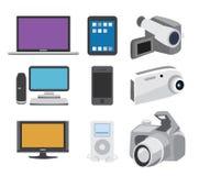 Elektroniksymbolsuppsättning Arkivfoton