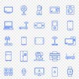 Elektroniksymbolsuppsättning 25 vektorsymboler packar royaltyfria foton