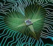 Elektronisch die hartconcept van kringen en één cpu wordt gemaakt stock fotografie