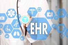Elektronisch Gezondheidsverslag HAAR op het aanrakingsscherm met geneeskunde Stock Afbeelding
