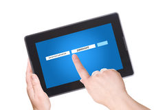 Elektronisch notitieboekjePC en wachtwoord stock foto