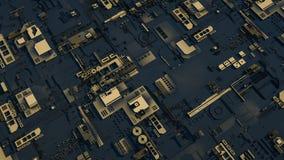 Elektronisch schakelschema met goud op zwarte achtergrond Stock Fotografie