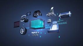 Elektronisch, Wasserstoff, Lithium-Ionen-Batterie-Echoauto Aufladungsautobatterie umweltfreundliches zukünftiges Auto Maschine, S stock abbildung