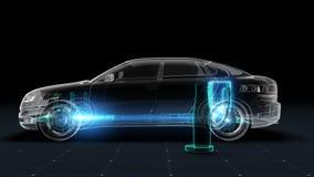 Elektronisch, waterstof, de echoauto van de lithium ionenbatterij Ladende autobatterij Geïsoleerd geef op een zwarte achtergrond  stock illustratie