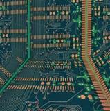 Elektronische achtergrond met gouden elementen stock afbeelding