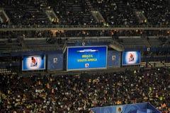 Elektronische Anzeigetafel - Südafrika gegen Brasilien HDR Stockfotos