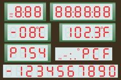Elektronische Anzeigetafeluhr und -thermometer Stockbild