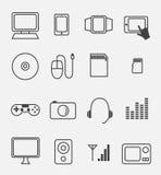 Elektronische apparaat en huishoudenpictogramreeks Stock Foto's