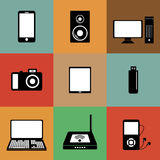 Elektronische apparatenpictogrammen royalty-vrije illustratie