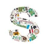 Elektronische componentenbrief stock afbeeldingen