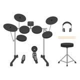 Elektronische Drumstel, Hoofdtelefoons, Trommelstokken en Trommeltroon stock illustratie