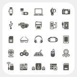 Elektronische en geplaatste gadgetpictogrammen Royalty-vrije Stock Foto