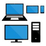 Elektronische Geräte auf weißem Hintergrund Smartphones, Tabletten, Computermonitor, Laptop Stock Abbildung