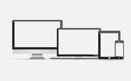 Elektronische Geräte mit leeren Bildschirmen Lizenzfreie Stockfotos