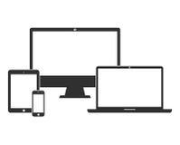 Elektronische Geräte mit weißen leeren Bildschirmen Stockfoto