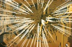 Elektronische goldene Leiterplatte mit Shine lizenzfreie stockbilder