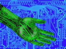 Elektronische hand die een doorzichtige bol houdt royalty-vrije stock foto's