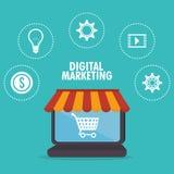 Elektronische handel en het winkelen vector illustratie