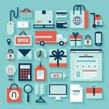 Elektronische handel en het winkelen pictogrammen Royalty-vrije Stock Foto's