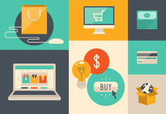 Elektronische handel en Internet-het winkelen pictogrammen Stock Afbeelding