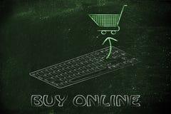 Elektronische handel en online aankopen: toetsenbord en boodschappenwagentje Royalty-vrije Stock Foto