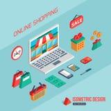 Elektronische handel en online het winkelen Vlakke 3d isometrisch Stock Foto