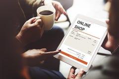 Elektronische handel het Online het Winkelen Concept van de Websitetechnologie Royalty-vrije Stock Foto's