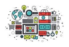 Elektronische handel het winkelen de illustratie van de lijnstijl Stock Foto's