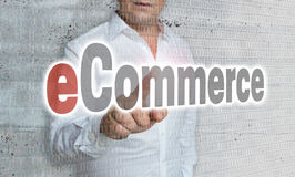 Elektronische handel met matrijs en zakenmanconcept Royalty-vrije Stock Fotografie