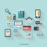 Elektronische handel modern concept in vlak ontwerp Royalty-vrije Stock Fotografie