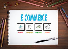 Elektronische handel Notitieboekjes, pen en kleurpotloden op een houten lijst Stock Afbeelding