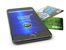 Elektronische handel, online aankopen en mobiel Internet-het winkelen concept Royalty-vrije Stock Foto's
