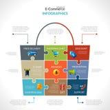 Elektronische handel Veelhoekige Infographics Stock Afbeeldingen