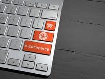Elektronische handelverkoop, online winkelend, het winkelen aanbiedingen De knopen van het computertoetsenbord het 3d teruggeven Stock Afbeelding