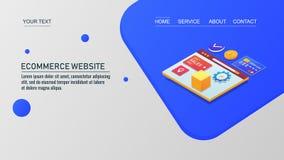 Elektronische handelwebsite, online winkelend, isometrisch ontwerpconcept, de vector van het landingspaginamalplaatje stock illustratie