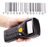 Elektronische handscanner van streepjescodes Stock Afbeelding