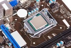 Elektronische inzameling - cpu-contactdoos op motherboard royalty-vrije stock afbeeldingen