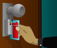 Elektronische kaart om de deur te openen Stock Afbeeldingen