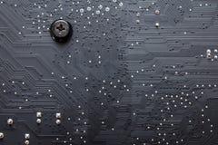 Elektronische kringsraad als abstract patroon als achtergrond Stock Foto's