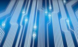 Elektronische Leiterplatte im Blau Stockfoto