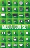 Elektronische Media Vlakke Pictogrammen Royalty-vrije Illustratie