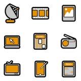 Elektronische objecten pictogramreeks Royalty-vrije Stock Afbeeldingen