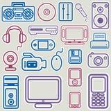 Elektronische pictogram vastgestelde vector Stock Foto