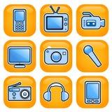 Elektronische pictogramreeks Stock Afbeeldingen