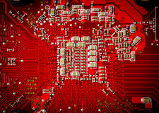Elektronische Sammlung - elektronische Bauelemente auf dem PWB Stockbild